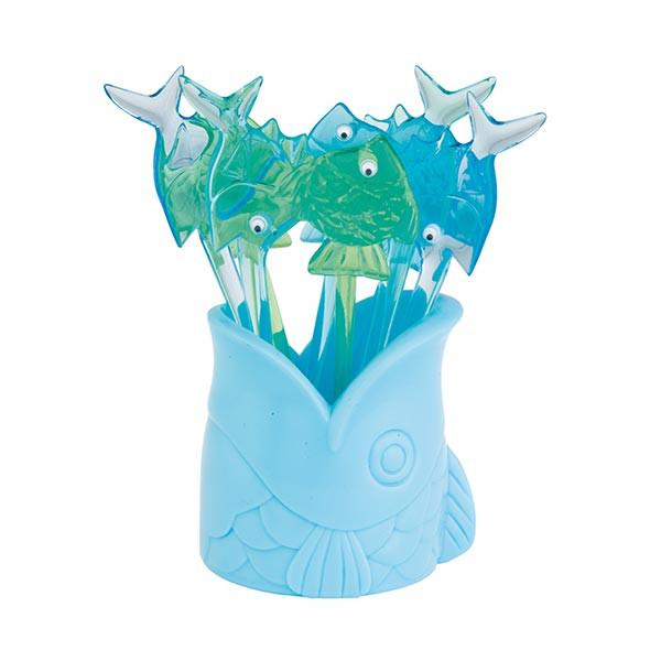 PARTY - Set de 8 piques à cocktail poisson 9,5 cm - Bleu