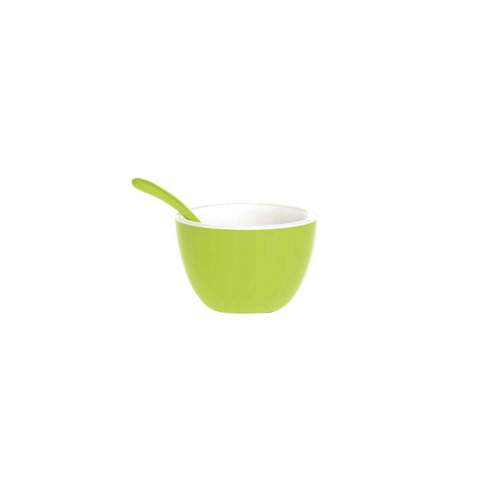 DUO - Set bol & cuillère bicolores - vert/blanc