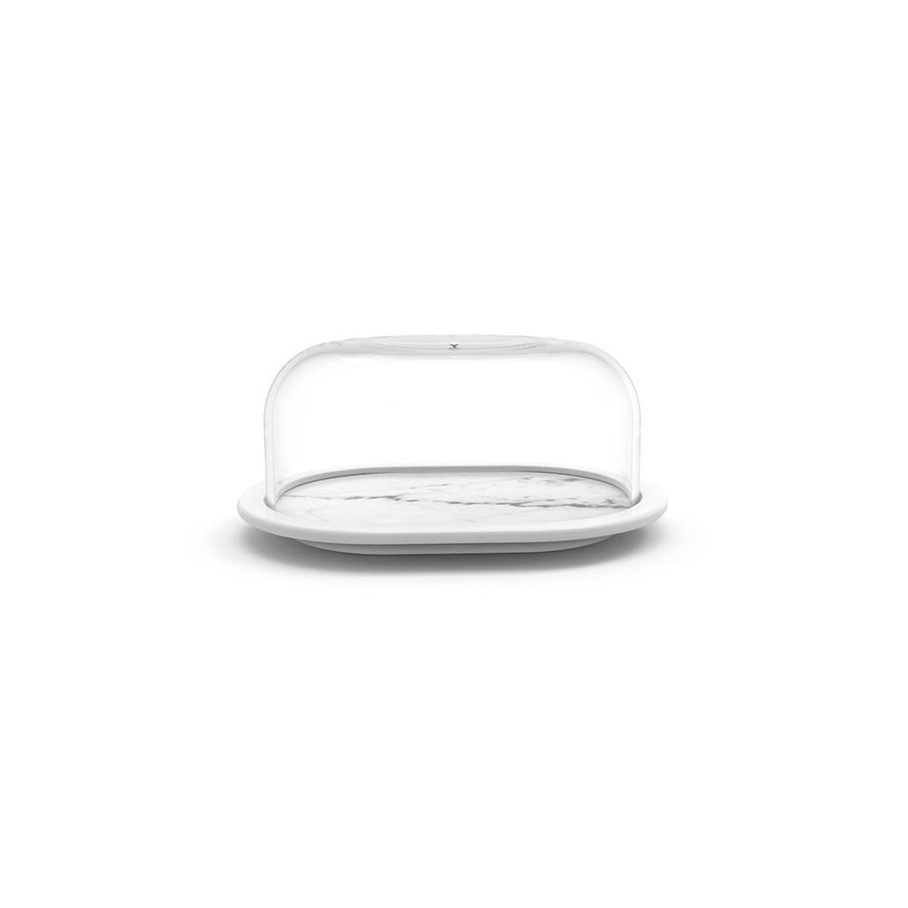 OSMOSE - Beurrier avec cloche 17 x 13 x 8 cm - Marbre/Blanc