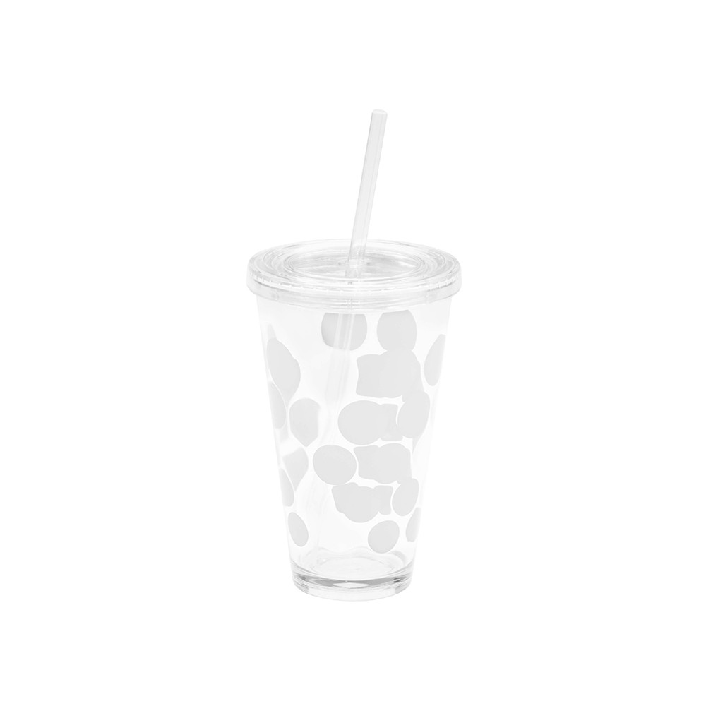 DOT DOT - Verre à soda avec paille intégrée 57cl - Blanc