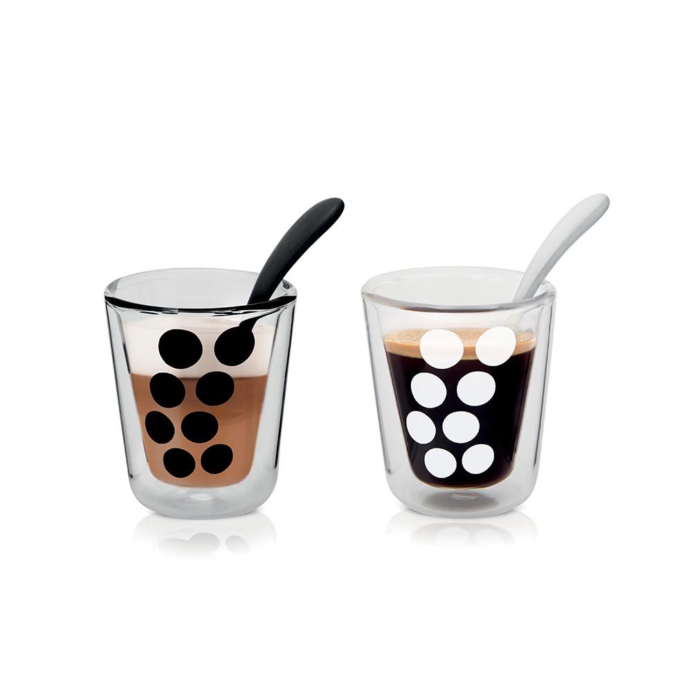 DOT DOT - Set de 2 verres à café double paroi & 2 cuillères - Noir & blanc