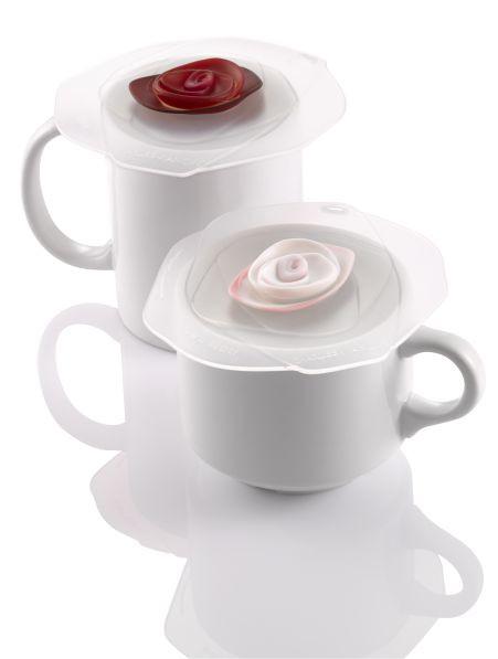 ROSE givrée - Couvre-verre 10 cm