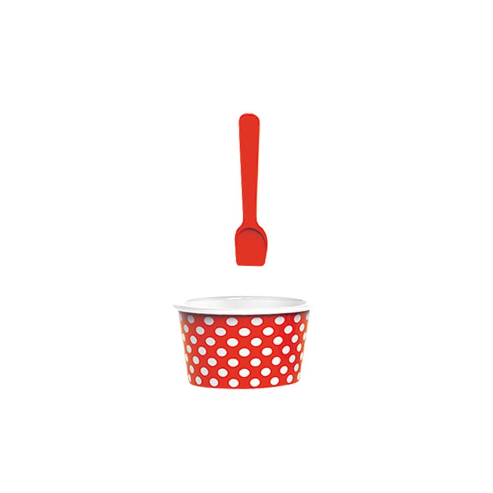 ICE CREAM - Set bol & cuillère à glace - rouge/blanc