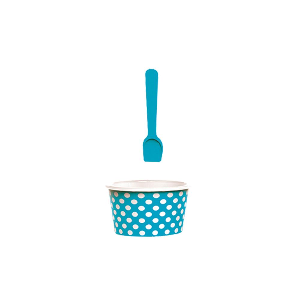 ICE CREAM - Set bol & cuillère à glace - bleu aqua/blanc
