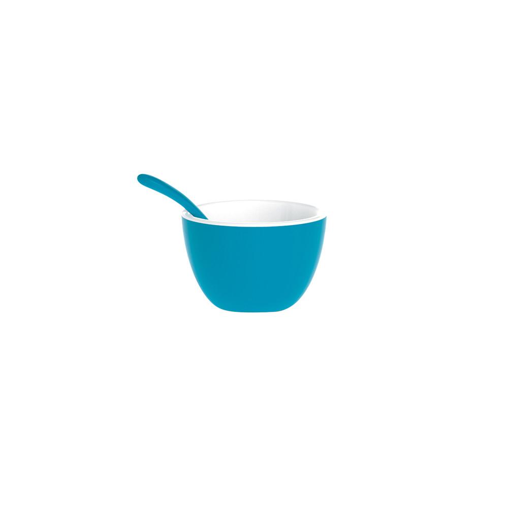 DUO - Set bol & cuillère bicolores - bleu aqua/blanc