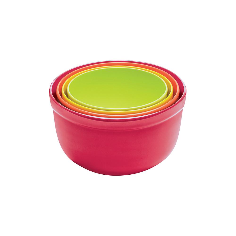 BISTRO - Set de 4 saladiers emboîtables avec base antidérapante-22-16 cm- Hot Pop
