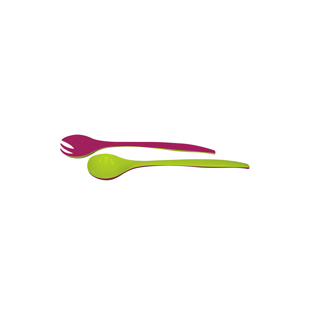 DUO - Couverts à salade 22 cm - grenadine/vert