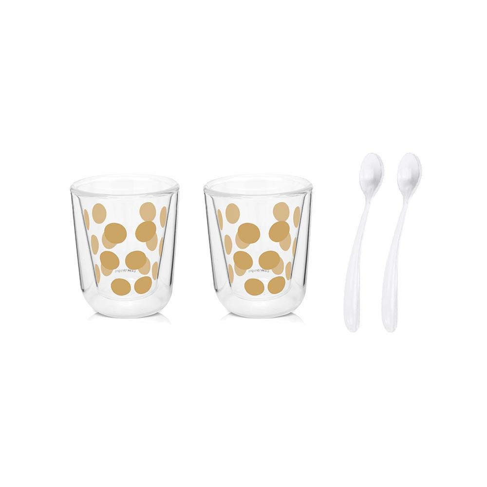 DOT DOT - Set de 2 verres à thé  double paroi & 2 cuillères - Or