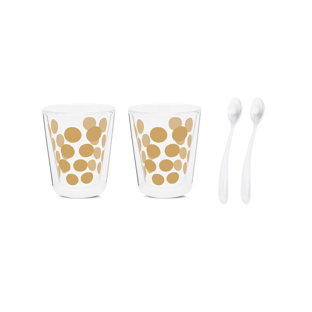 DOT DOT - Set de 2 verres à café double paroi & 2 cuillères - Or