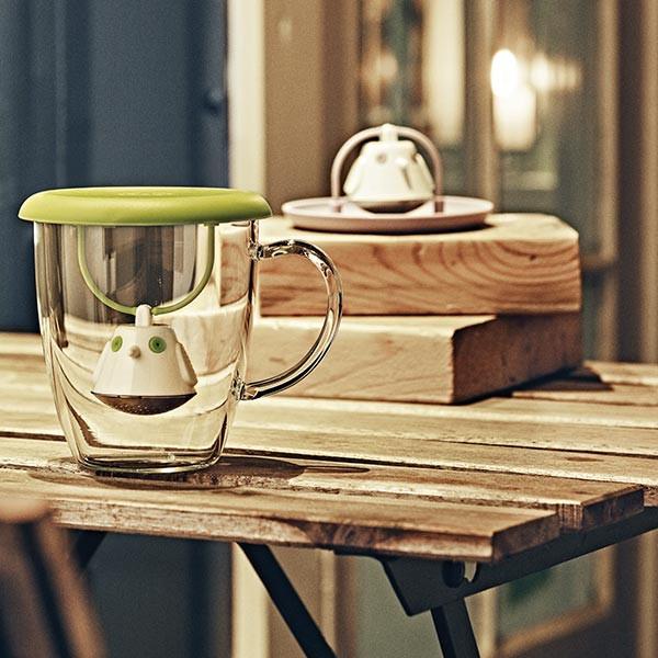 Tasse en verre et couvercle-infuseur à thé BIRDIE