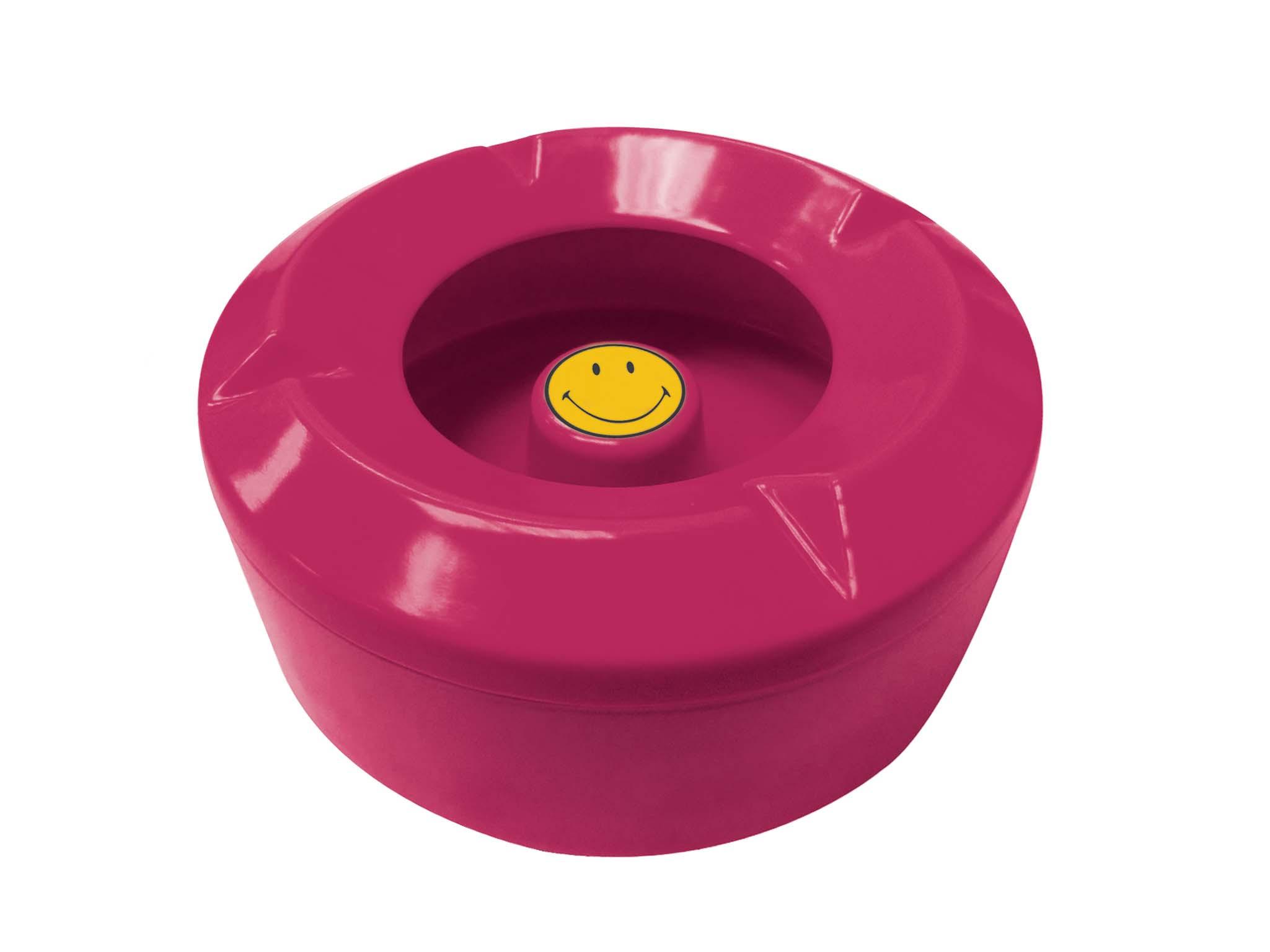 Cendrier d'extérieur Smiley - Ø 10,5 cm - Framboise