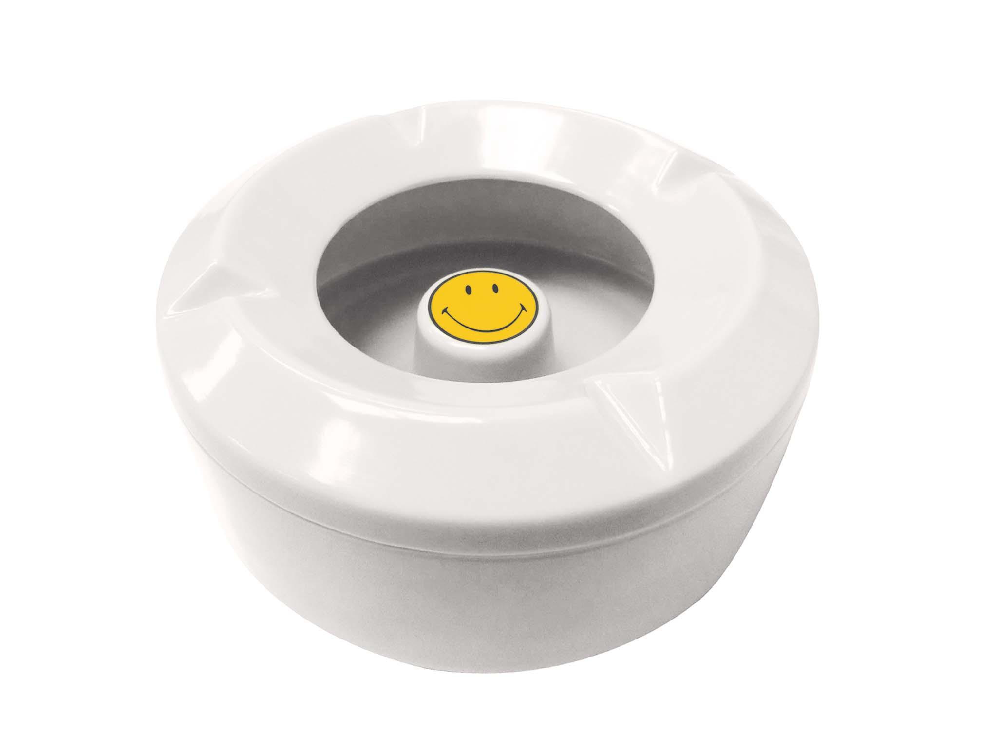 Cendrier d'extérieur Smiley - Ø 10,5 cm - Blanc