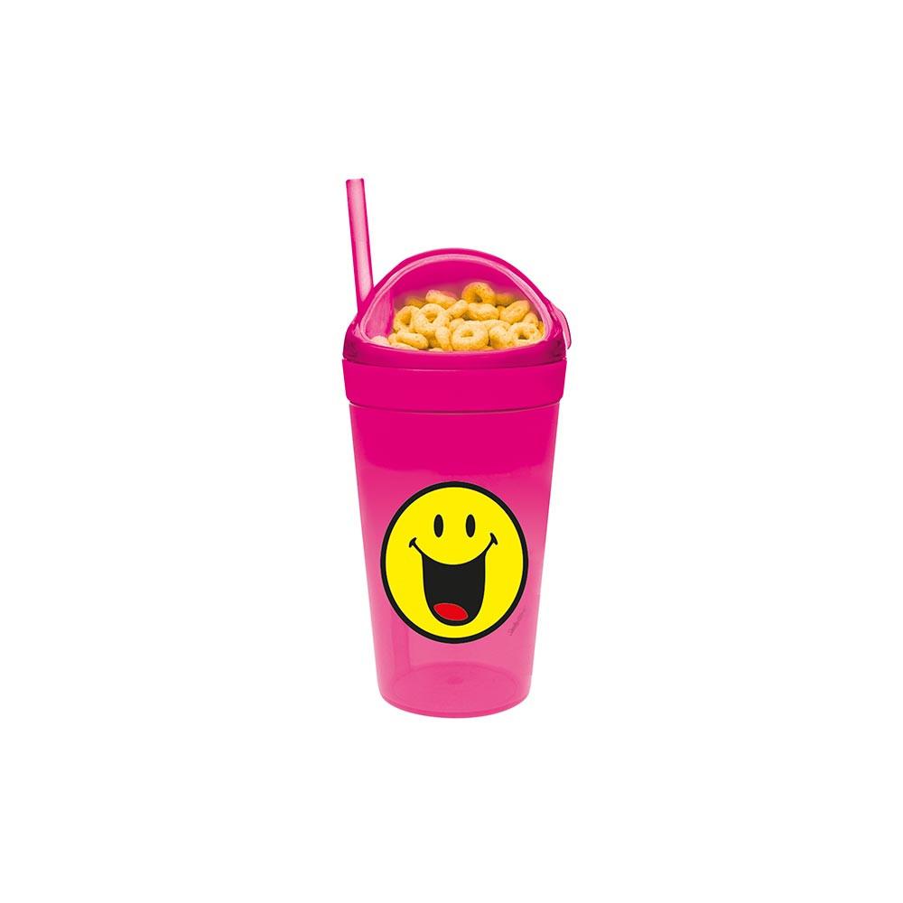 SMILEY - Mug avec compartiment goûter et paille - fuchsia