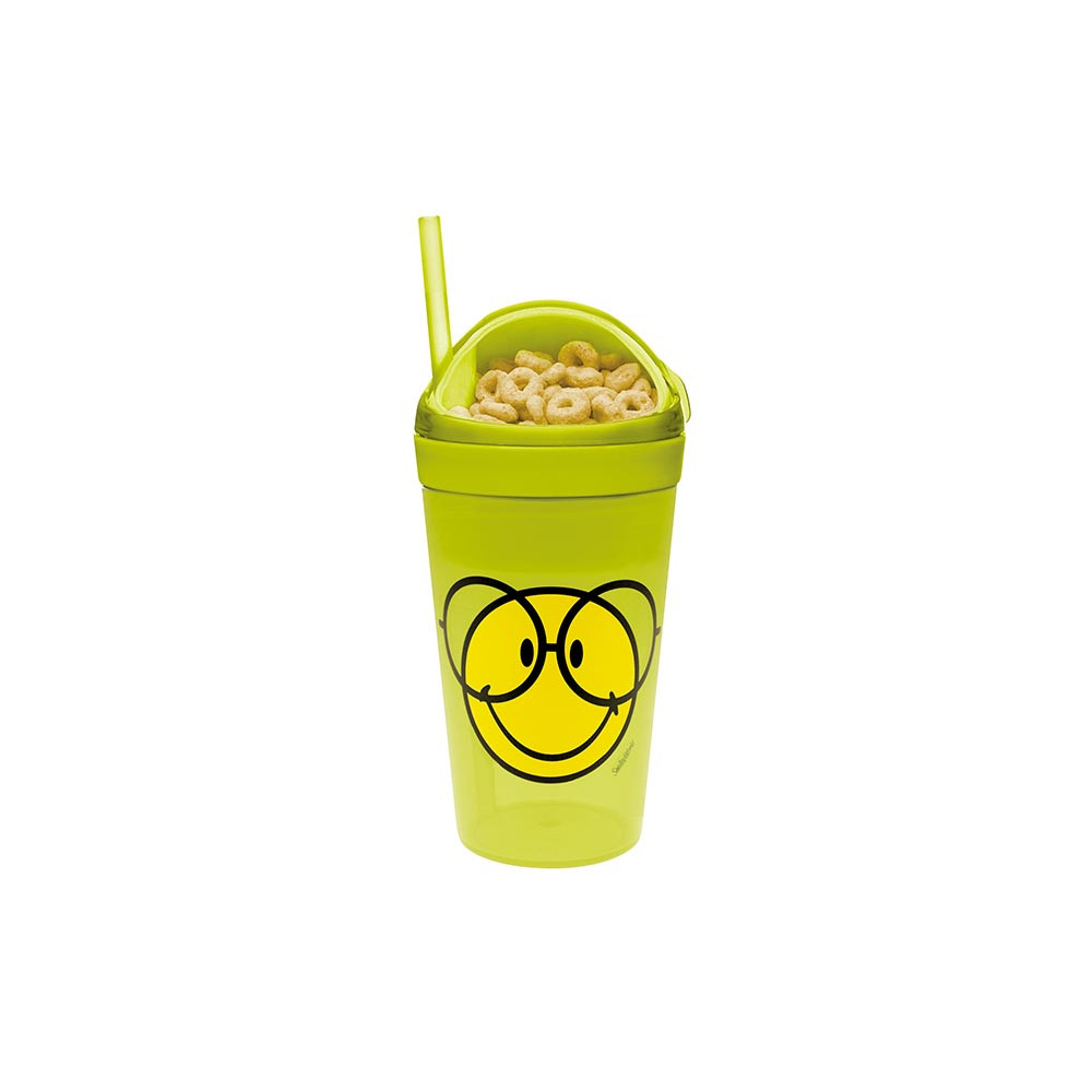 SMILEY - Mug avec compartiment goûter et paille - vert