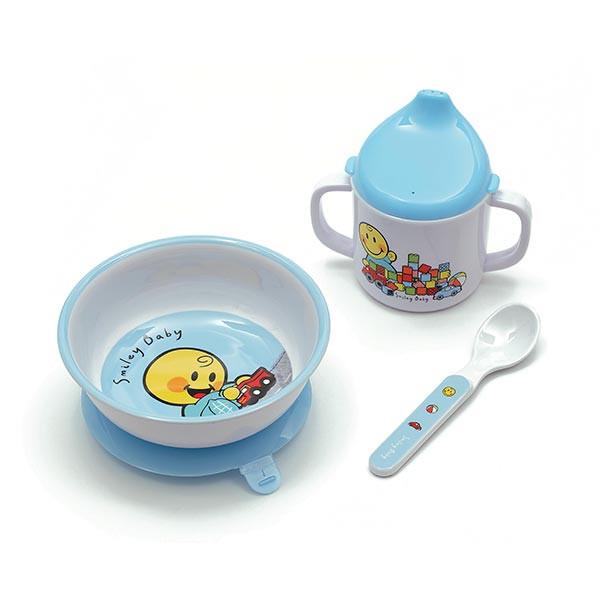 SMILEY BABY - Set 3 pièces : Bol à ventouse, mug & cuillère