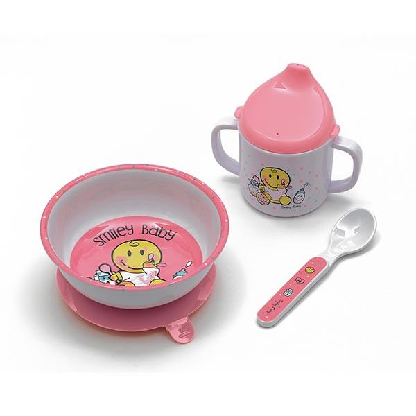 Set 3 pièces : Bol à ventouse, mug & cuillère - SMILEY BABY