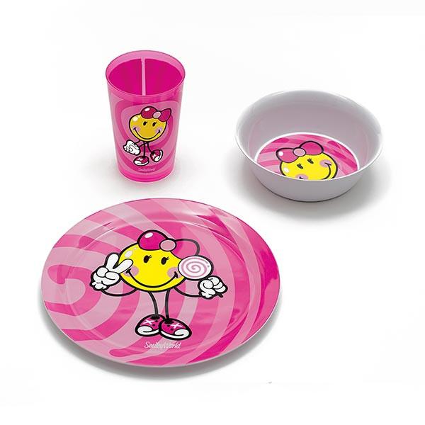 SMILEY JUNIOR - Sets 3 pièces déjeuner : Assiette, bol & verre