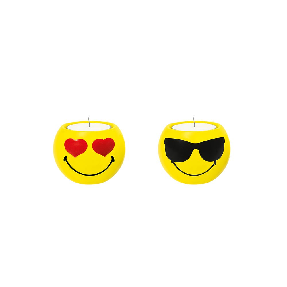 SMILEY - Set de 2 bougeoirs - amoureux/cool