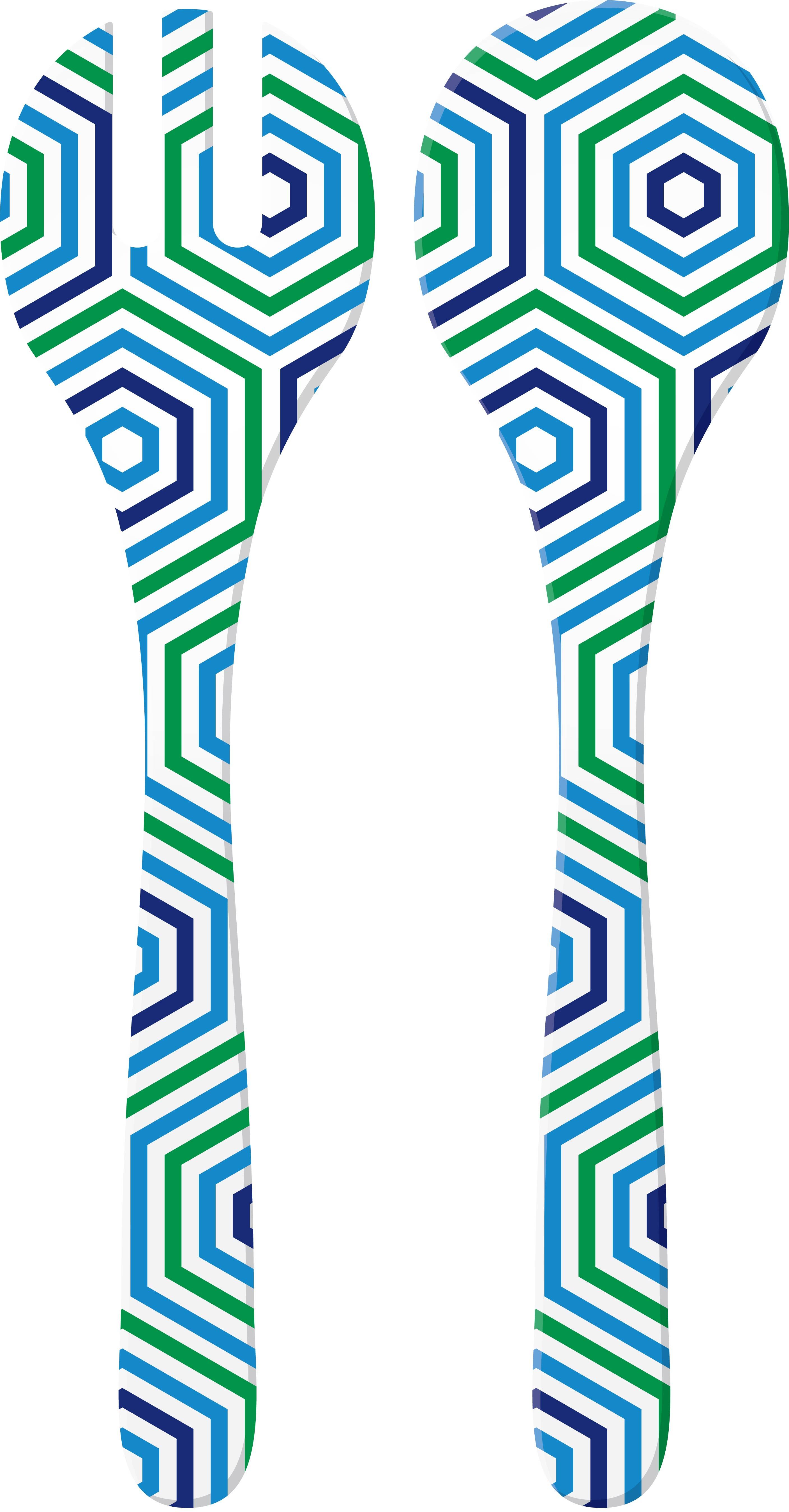 RIVIERA - Couverts à salade décorés - Bleu/Blanc hexagone