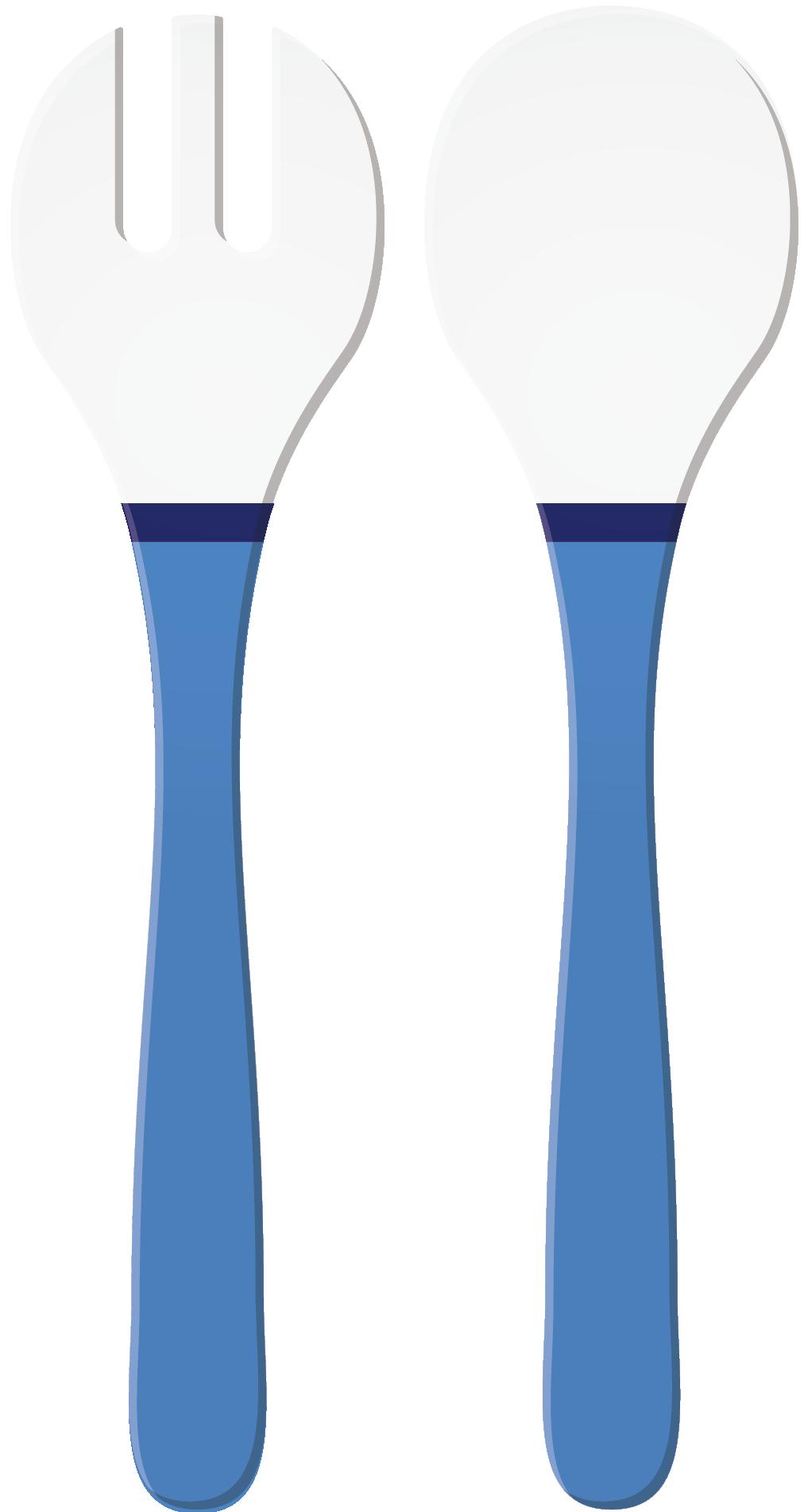 RIVIERA - Couverts à salade décorés - Bleu/Blanc