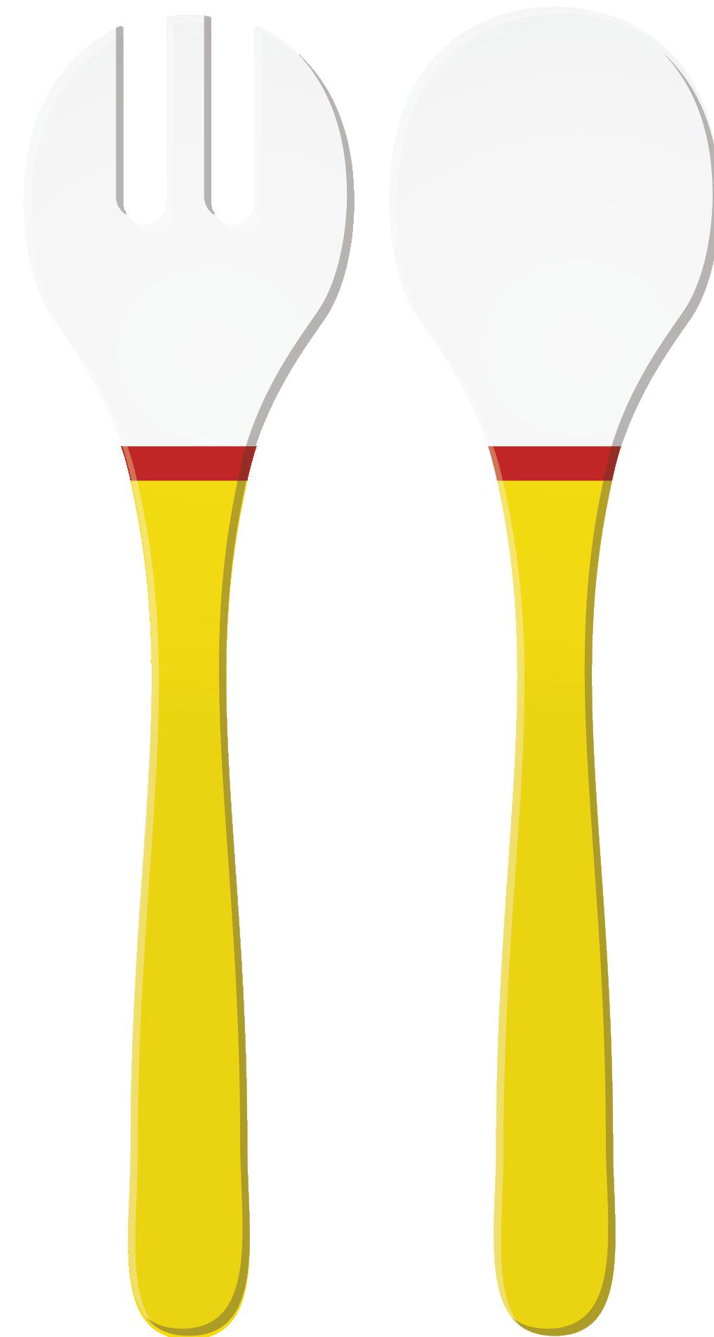 RIVIERA - Couverts à salade décorés - Jaune/Rouge