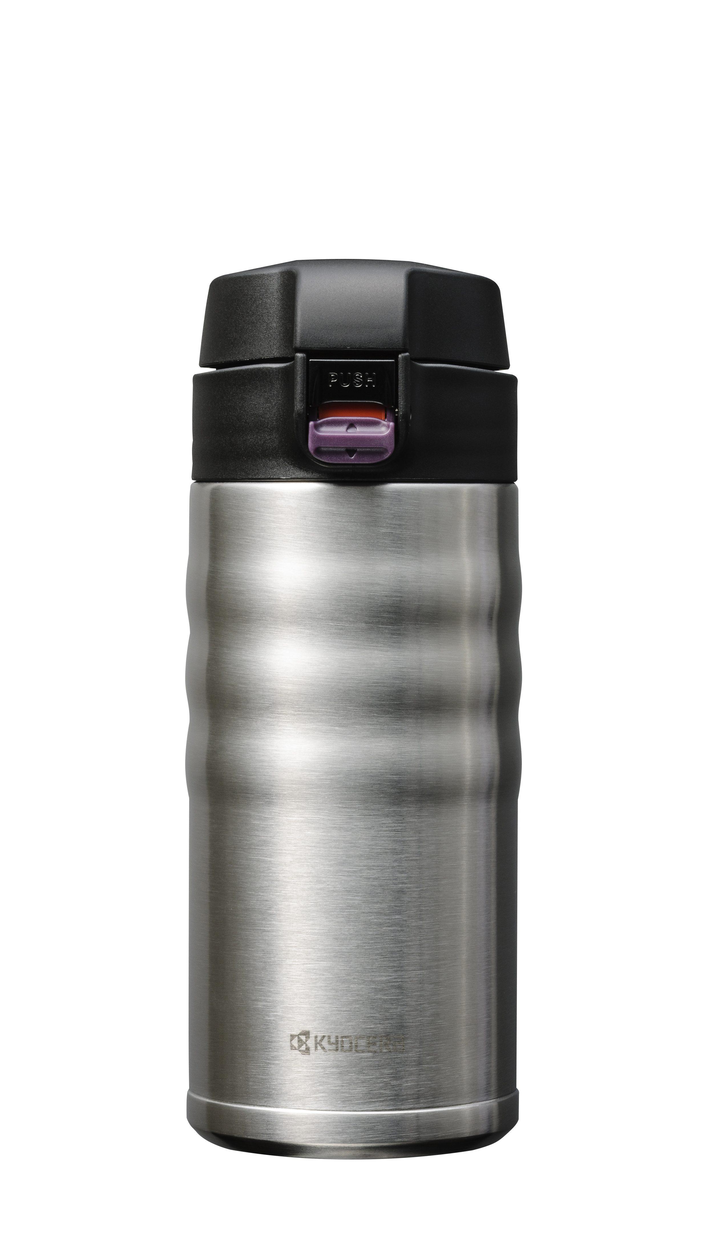 CERAMUG - Mug isotherme bouchon flip 350 ml - inox