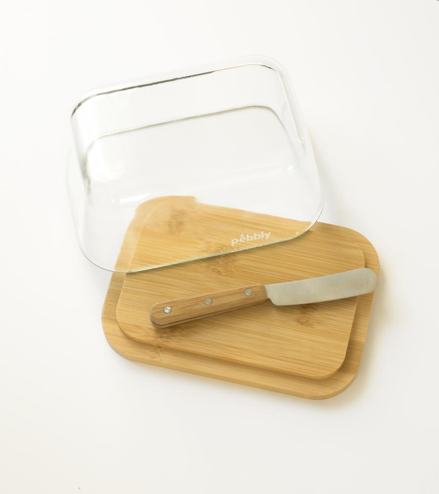 Set beurrier en verre/bambou avec couteau à beurre