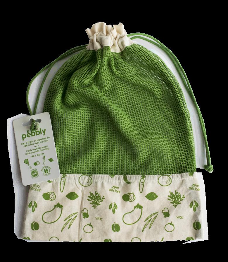 Sac à légumes en coton biologique Vert