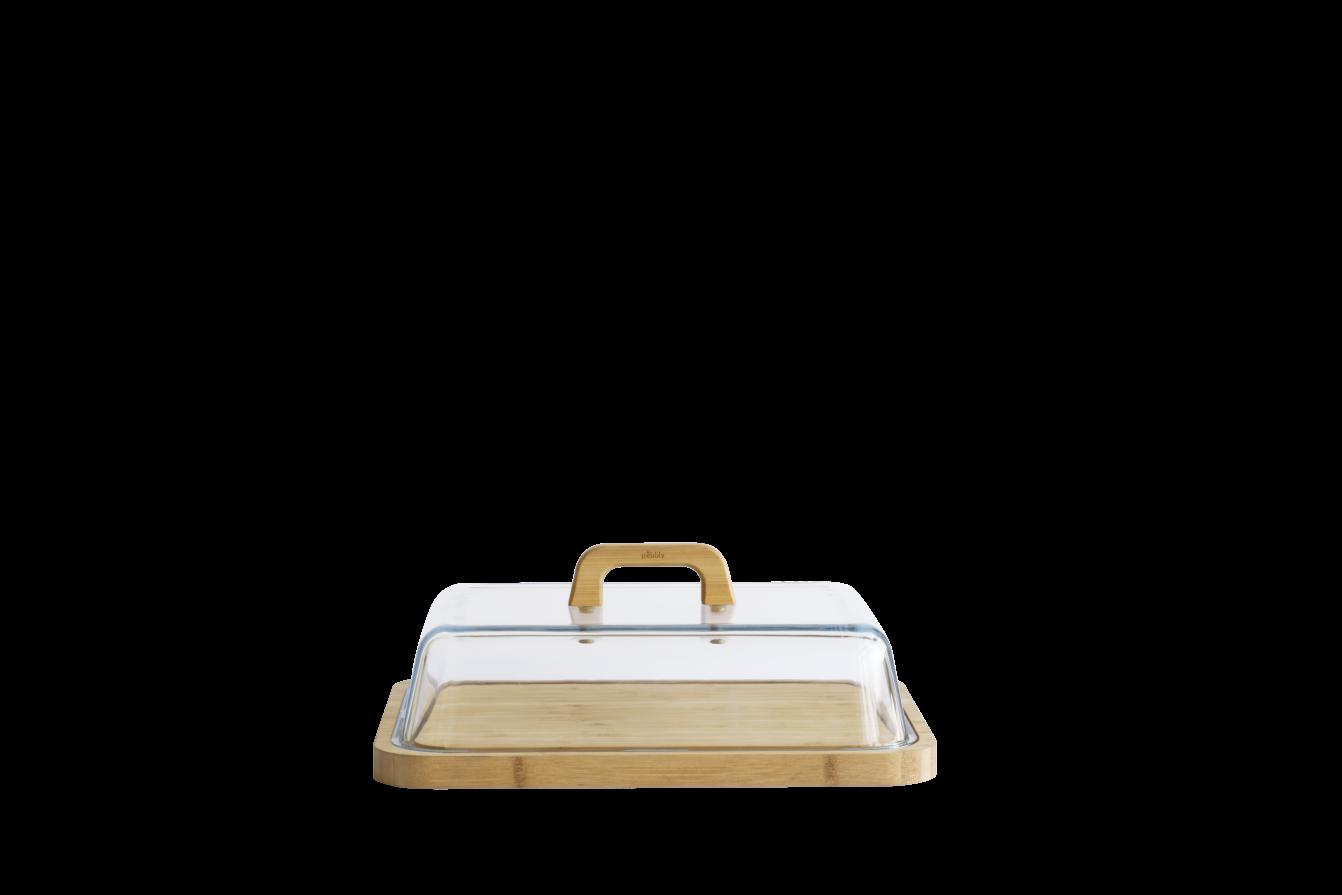 Boîte à fromage avec cloche en verre et plateau en bambou