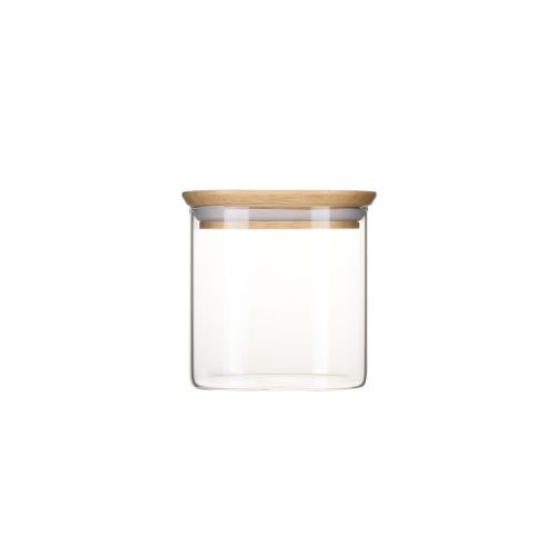 Boite en verre carré avec couvercle en bambou - 800 ml