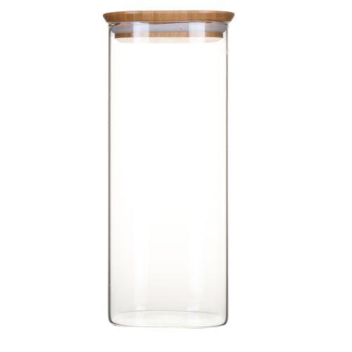Boite en verre carré avec couvercle en bambou - 2,2 L