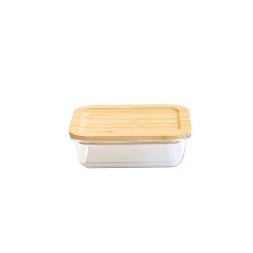 Plat/boîte rectangulaire en verre avec couvercle en bambou - 650 ml
