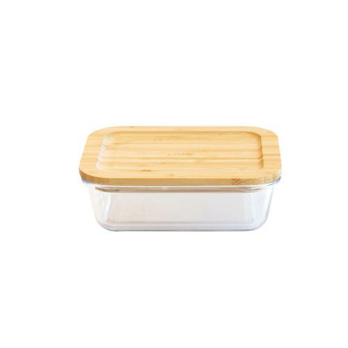 Plat/boîte rectangulaire en verre avec couvercle en bambou - 1040 ml