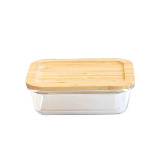 Plat/boîte rectangulaire en verre avec couvercle en bambou - 1520 ml
