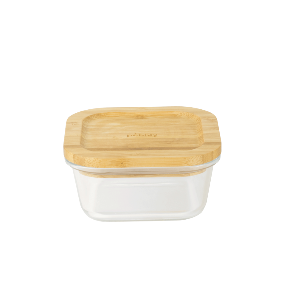 Boîte carrée en verre avec couvercle en bambou