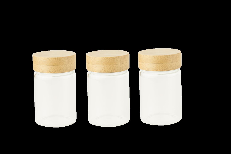 Set de 3 pots en verre avec couvercle en bambou à visser