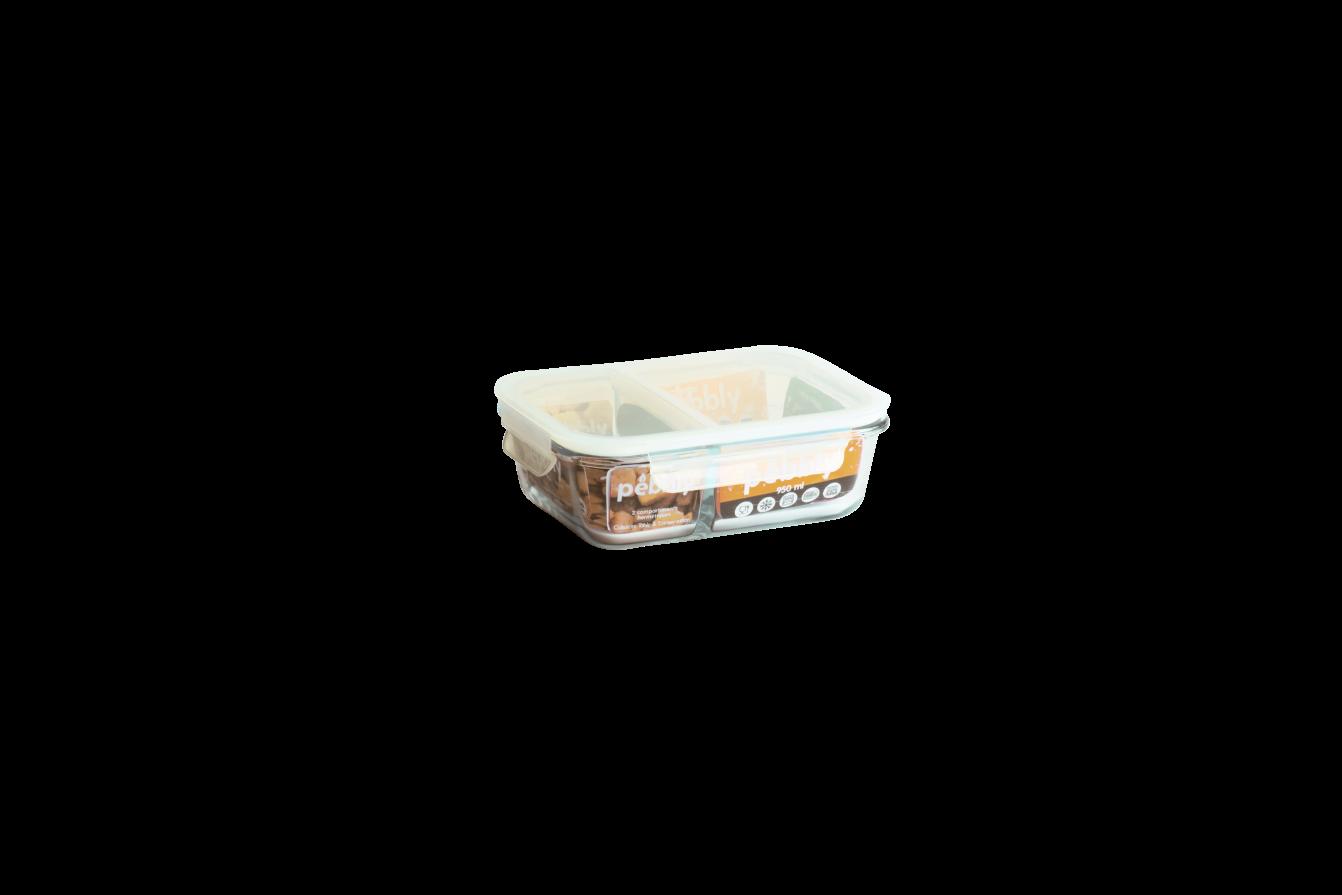 Boîte en verre borosilicate rectangulaire compartimentée étanche 950 ml