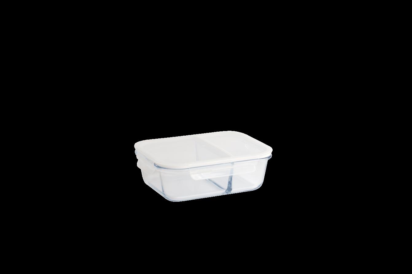 Boîte en verre borosilicate rectangulaire compartimentée étanche 1450 ml