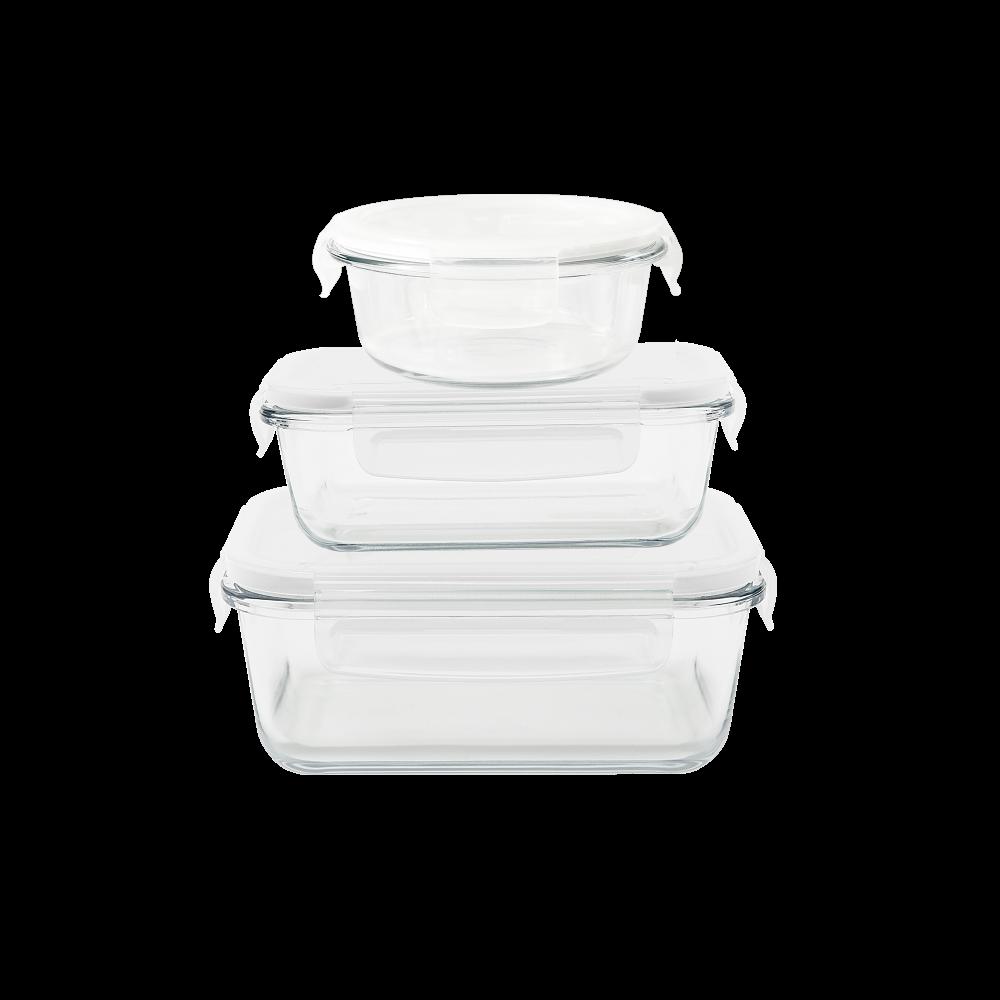 Set de 3 plats/boîtes carré/rond/rectangulaire en verre