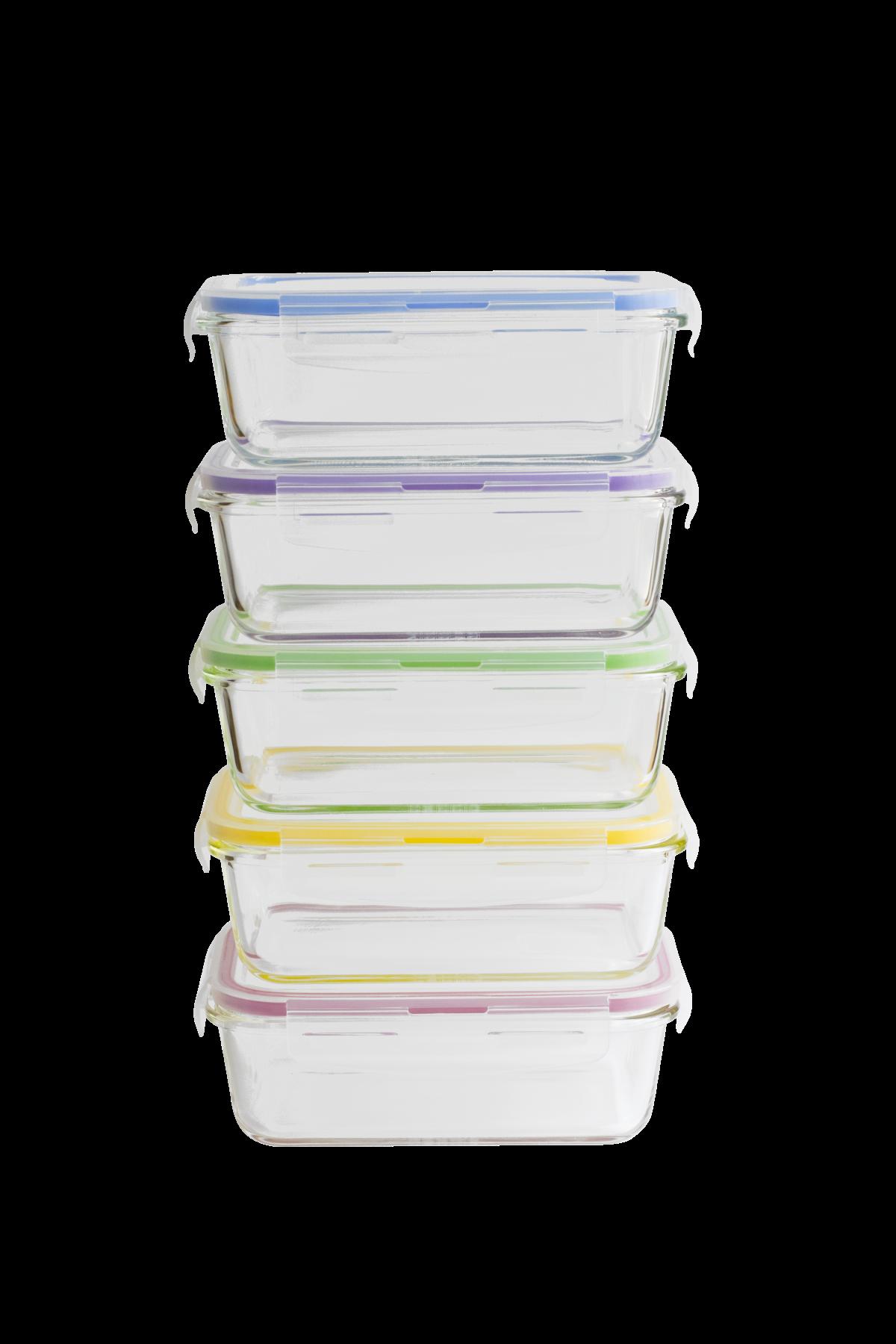 Set batch cooking  de 5 boîtes rectangulaires en verre