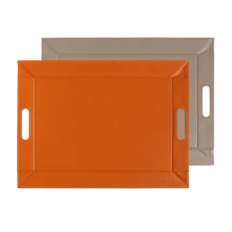 Plateau bicolore réversible M - 55 x 41 cm - orange/taupe