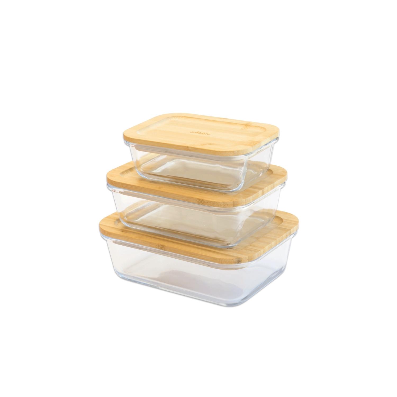 set de 3 boîtes rectangulaires empilables en verre avec couvercle