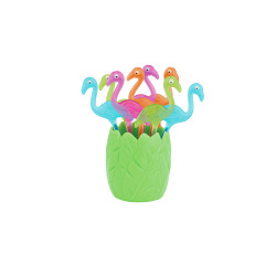 PARTY - Set de 8 piques à cocktail Flamants 9,5 cm - Multico