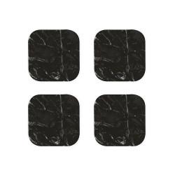 OSMOSE - Set de 4 dessous de verre - Marbre noir/Blanc