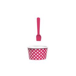 ICE CREAM - Set bol & cuillère à glace - grenadine/blanc