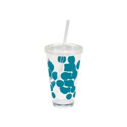 DOT DOT - Verre à soda  avec paille intégrée - Bleu Aqua