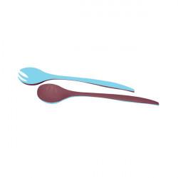 Couverts à salade DUO 29 cm - Châtaigne/Bleu ciel
