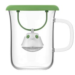 Tasse en verre et couvercle infuseur à thé BIRDIE - Vert botanique