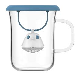 Tasse en verre et couvercle infuseur à thé BIRDIE - Bleu mer