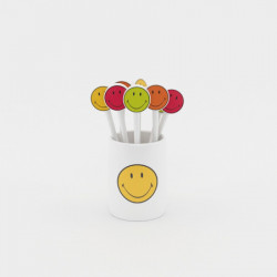 Smiley - Set de 8 piques à cocktail - 8 cm - Hot Pop